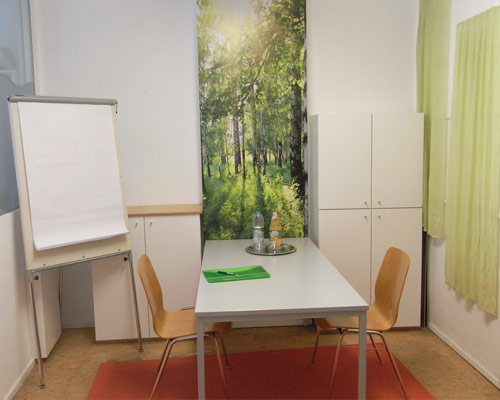 Movimento München Raum 3 ist ca. 12 m² groß und geeignet für Besprechungen, Coachings und als Rückzugs- oder Ruheraum
